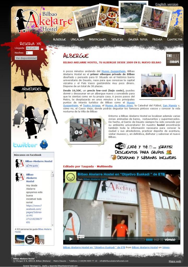 Diseño de página web de Bilbao Akelarre Hostel